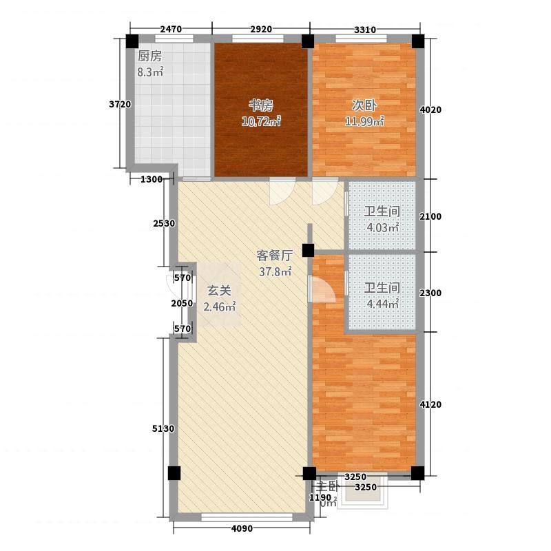 中豪・润园121.86㎡H户型3室2厅2卫1厨