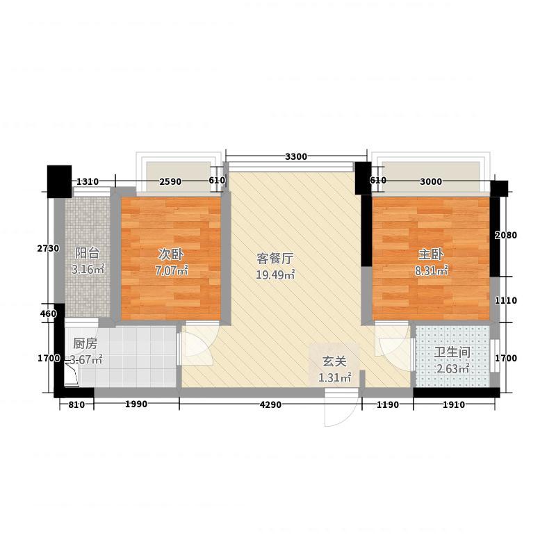 润扬双铁广场1期357栋标准层E1户型2室2厅1卫1厨