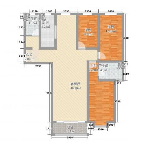 金茂城市花园3室1厅2卫1厨143.00㎡户型图