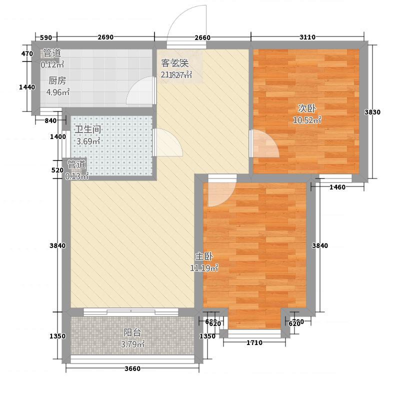 金茂城市花园7.45㎡D户型2室2厅2卫1厨