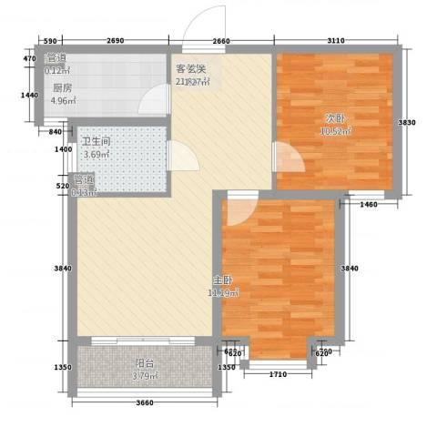 金茂城市花园2室1厅1卫1厨56.25㎡户型图