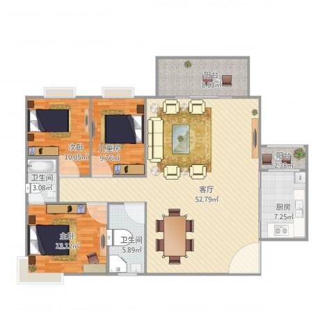 碧湖花园3室1厅2卫1厨150.00㎡户型图