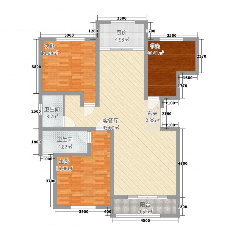 九龙佳苑136.20㎡E户型3室2厅2卫