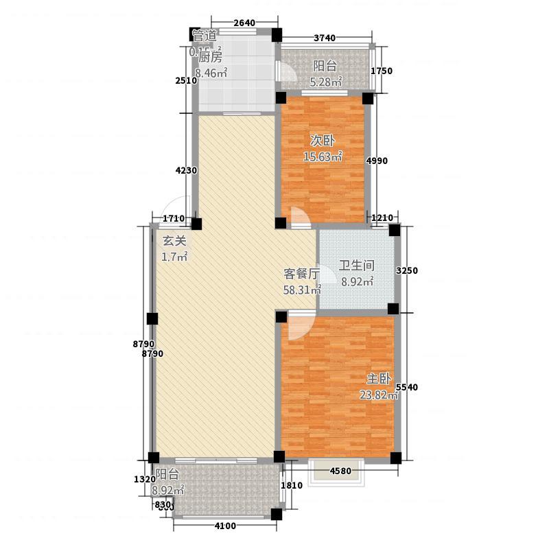 东方明珠嘉苑18.20㎡A1型平面布置图户型2室2厅1卫1厨