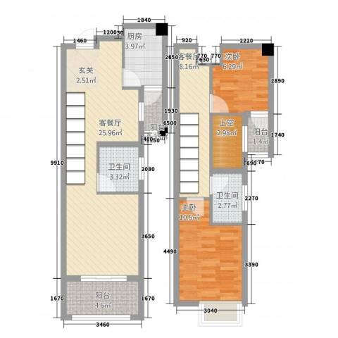河滨花园2室2厅2卫1厨71.30㎡户型图