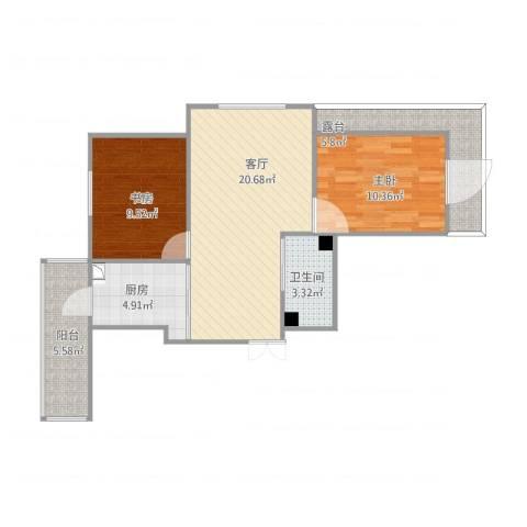远创樾府2室1厅1卫1厨86.00㎡户型图
