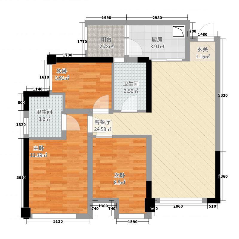 泰博理想城16.20㎡1号楼标准层B1户型3室2厅2卫1厨
