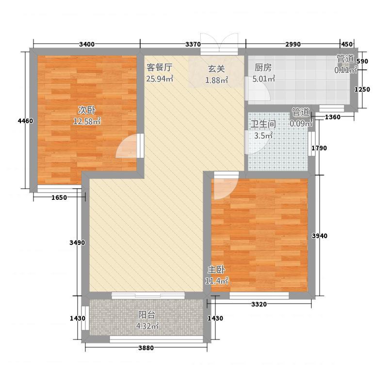 国仕山226.73㎡Y户型2室2厅1卫1厨