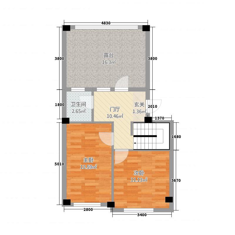 怡海馨苑44.36㎡A阁楼户型2室1卫