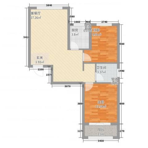 金茂城市花园2室1厅1卫1厨84.00㎡户型图