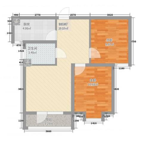 金茂城市花园2室1厅1卫1厨575.00㎡户型图