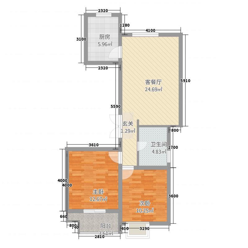 浅水湾・名门世家5.20㎡C户型2室2厅1卫1厨