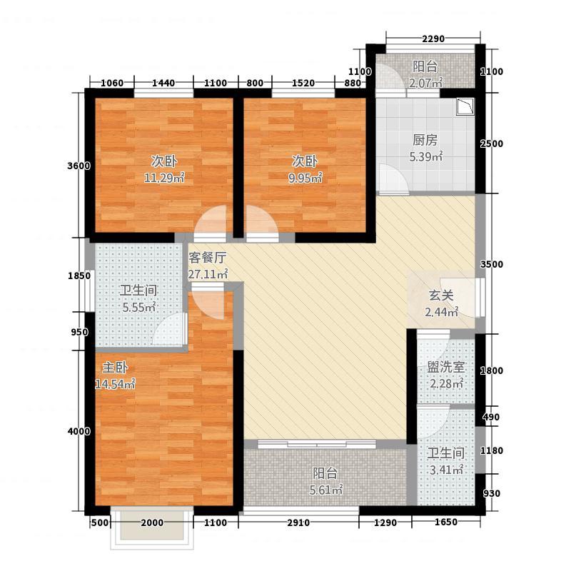贰号大院13124.72㎡B1户型3室2厅2卫1厨