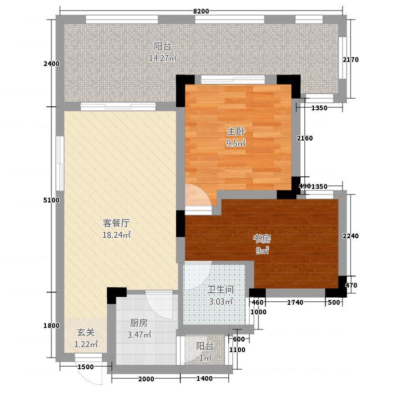 龙汇天池A1-6户型2室2厅1卫