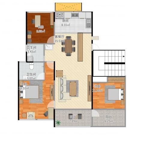 东湖怡景园3室1厅2卫1厨141.00㎡户型图