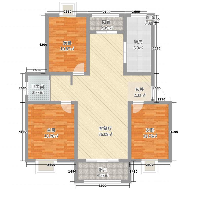 中巍・凤凰嗉5112.20㎡一期5#楼1层西户A-E户型3室2厅1卫1厨