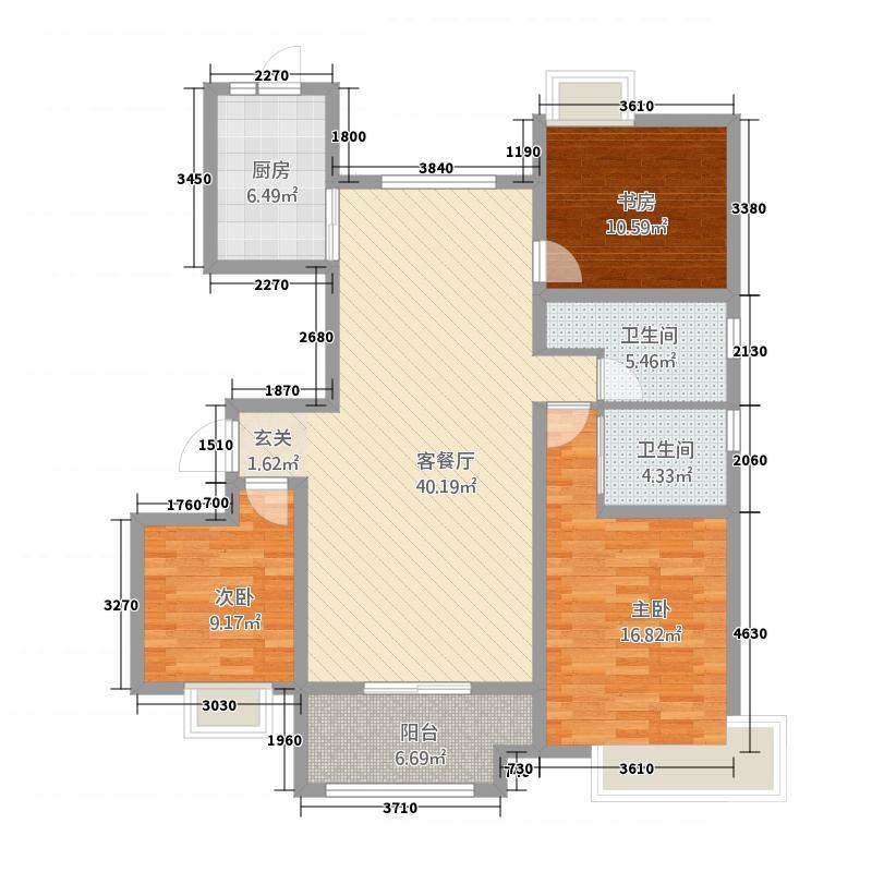 荣盛西湖观邸15142.20㎡15#楼边户户型3室2厅2卫1厨