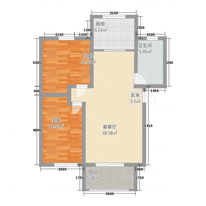 鑫界・阳光里83.50㎡B1户型2室1厅1卫1厨