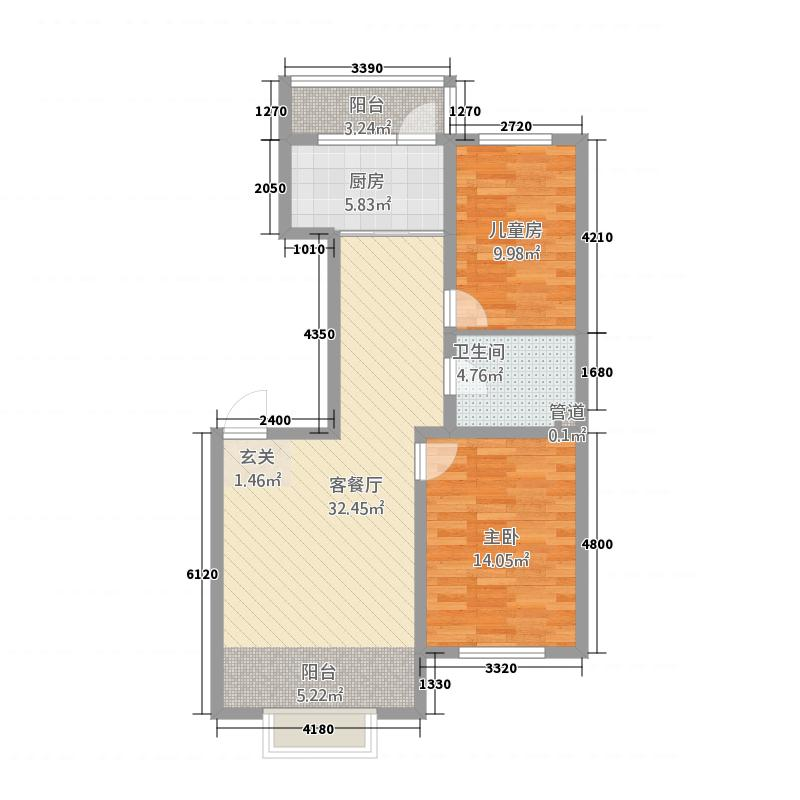 上东国际21.46㎡户型2室2厅1卫1厨