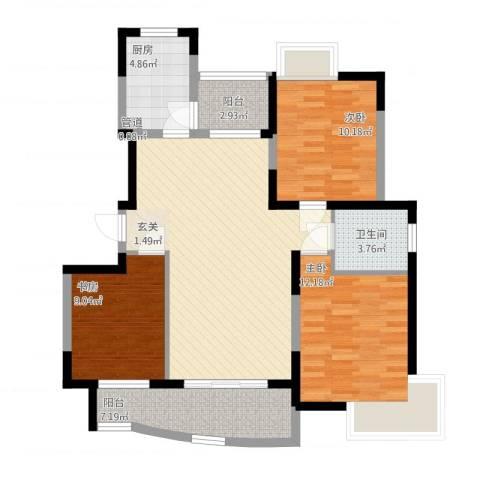静安新城十一区3室1厅1卫1厨113.00㎡户型图