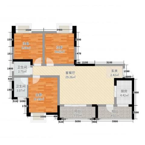 金九・南滨花园3室1厅2卫1厨116.00㎡户型图