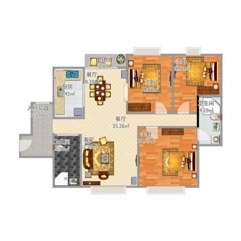 怡丰新城3室1厅2卫1厨115.00㎡户型图