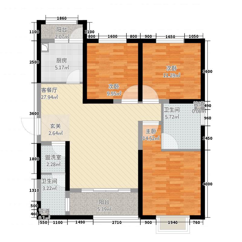 贰号大院2313.85㎡B2-A户型3室2厅2卫1厨