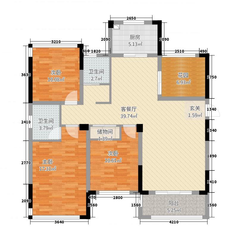 凯旋公馆3213.20㎡G户型3室2厅2卫1厨