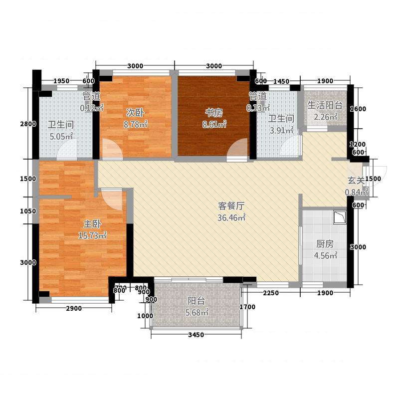 万科缤纷四季36113.20㎡南区36号楼01单位户型3室2厅2卫1厨