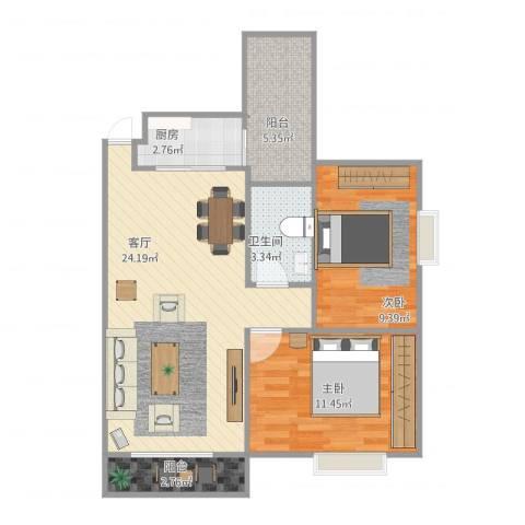 东城花园2室1厅1卫1厨80.00㎡户型图