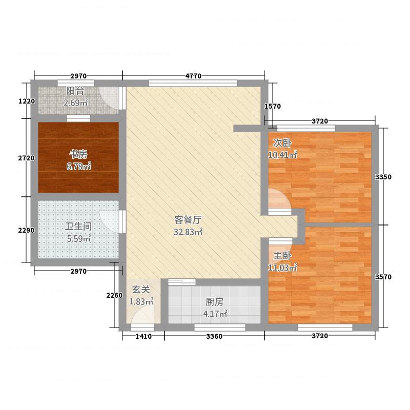 龙悦・盛庭16.54㎡C户型3室1厅1卫1厨