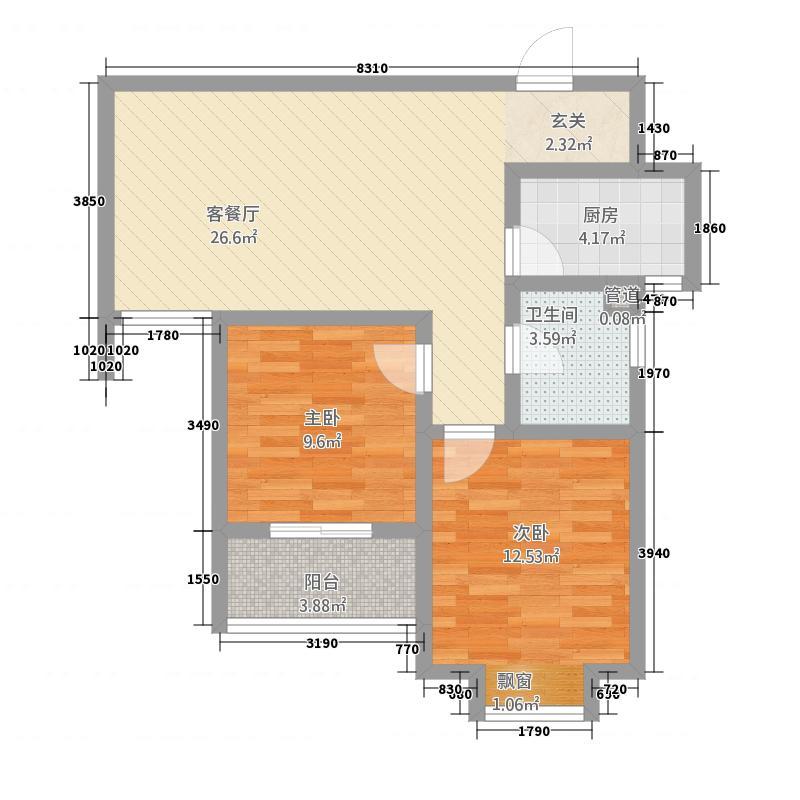 随州城东国际85.72㎡城东国际单张M户型2室2厅1卫1厨