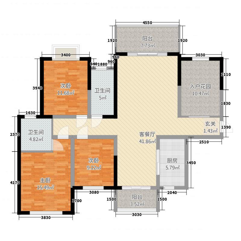 大同沁园113.20㎡1-1户型3室2厅2卫1厨