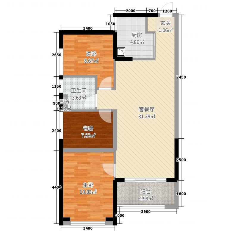 万科缤纷四季362.20㎡南区36号楼06单位户型3室2厅1卫1厨