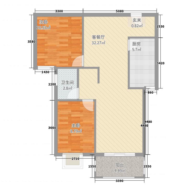 汇金国际二期12号楼B户型2室2厅1卫1厨