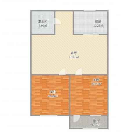 逸东花园2室1厅1卫1厨146.00㎡户型图