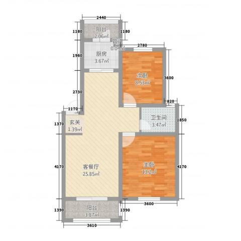 宇业天逸华府2室1厅1卫1厨89.00㎡户型图