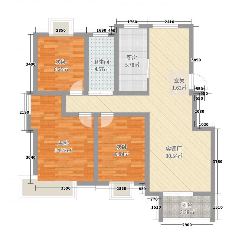 天惠景庭32111.20㎡F户型3室2厅1卫1厨