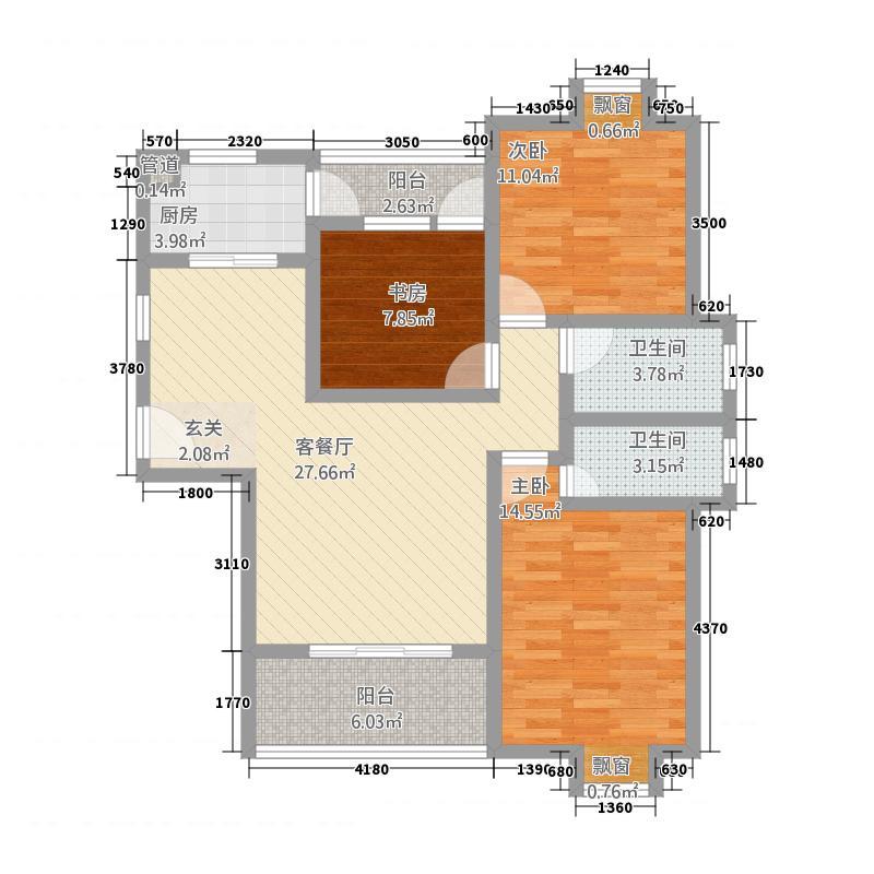 随州城东国际12.54㎡城东国际单张H户型3室2厅2卫1厨