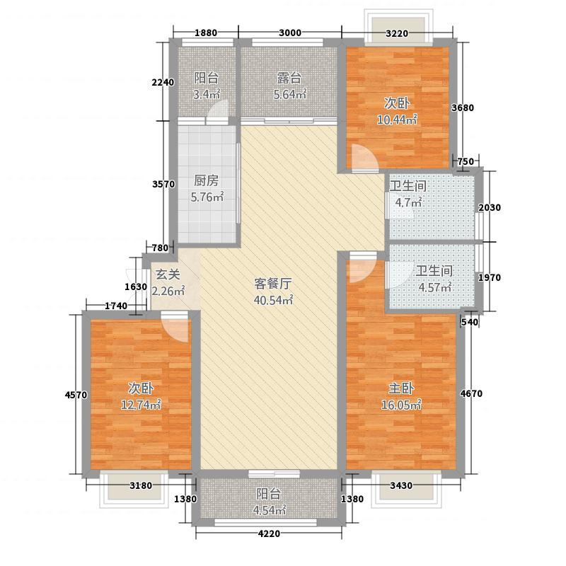 宝宇天邑澜山15.82㎡二期户型3室2厅2卫1厨