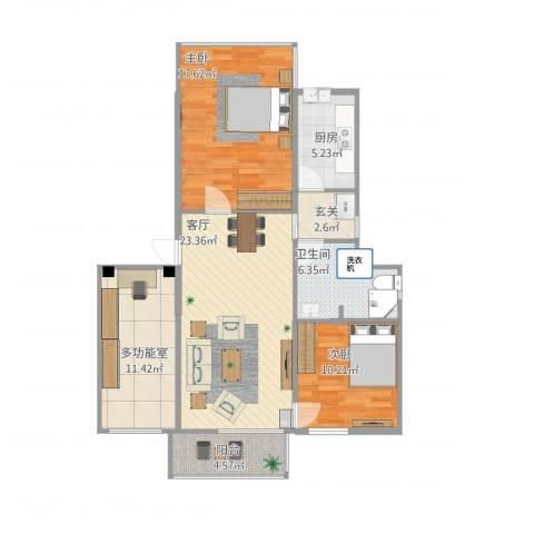 黄石花园2室1厅1卫1厨111.00㎡户型图