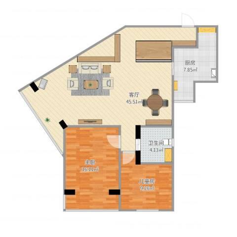 锦海大厦2室1厅1卫1厨112.00㎡户型图