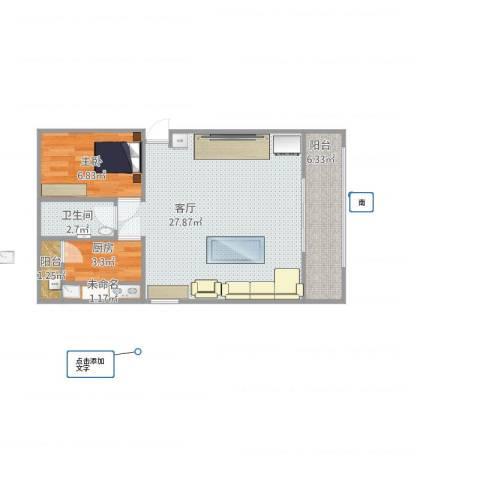 三合北里1室1厅1卫1厨67.00㎡户型图