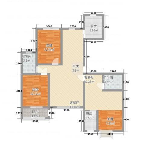 御湖国际2室2厅2卫2厨1148.00㎡户型图
