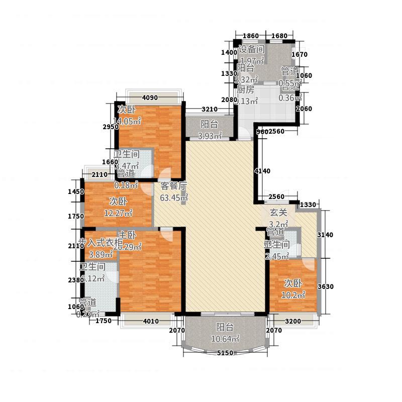 敏捷・畔海御峰41213.20㎡4座1梯02单元4室户型4室2厅3卫1厨