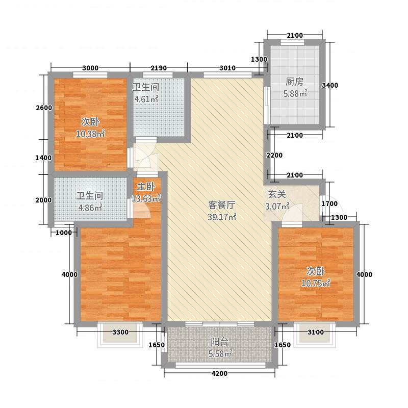 御湖国际1131.25㎡A1户型3室2厅2卫