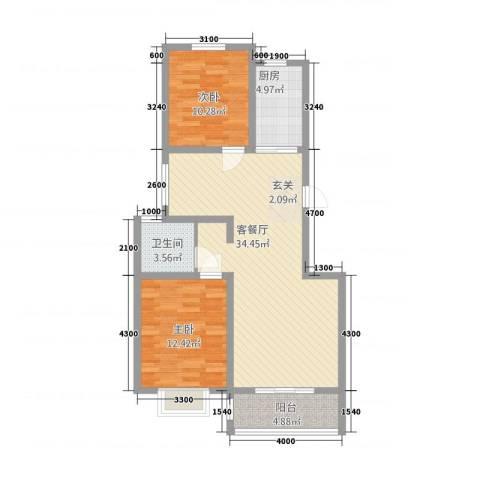 御湖国际2室1厅1卫1厨70.57㎡户型图