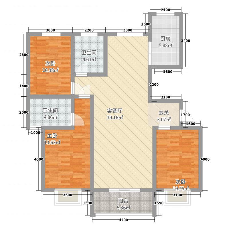 御湖国际2131.25㎡A2户型3室2厅2卫