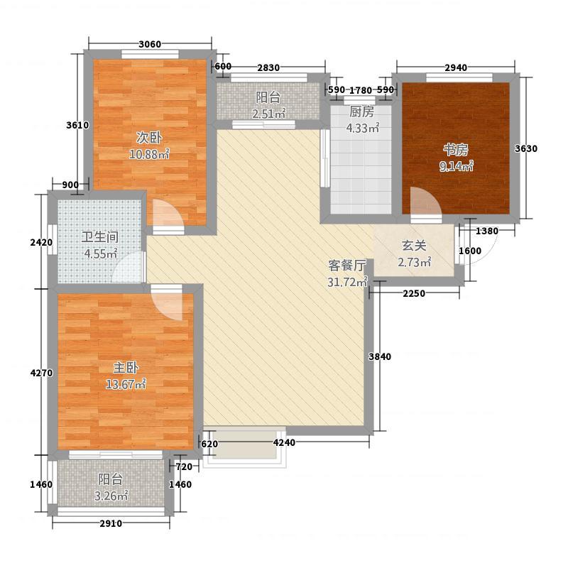 成邑德润华庭7116.20㎡7号楼D-1户型3室2厅1卫1厨