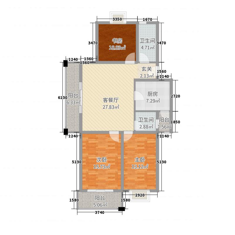 凯旋国际广场13.20㎡I户型3室2厅1卫1厨